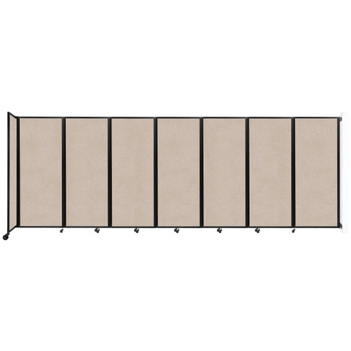 """Wall-Mounted Room Divider 360 Folding Partition 19'6"""" x 6'10"""" Beige High Density Polyester"""