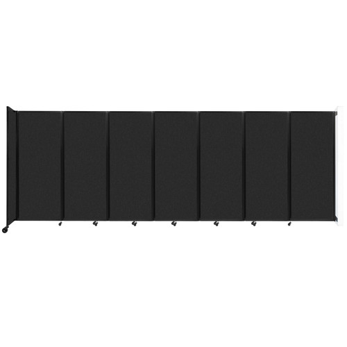 """Wall-Mounted Room Divider 360 Folding Partition 19'6"""" x 6'10"""" Black High Density Polyester"""
