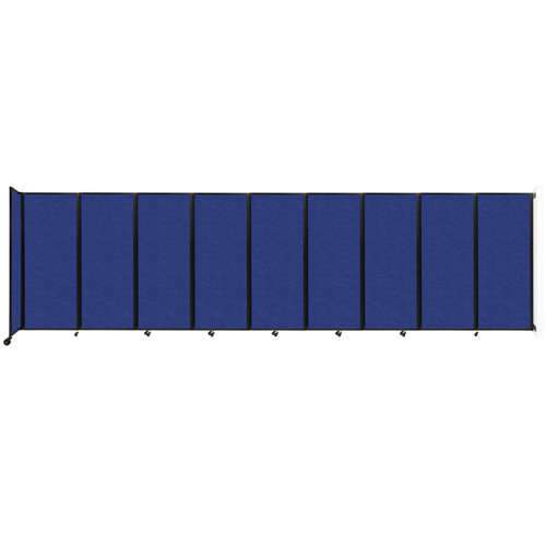 """Wall-Mounted Room Divider 360 Folding Partition 25' x 6'10"""" Blue High Density Polyester"""