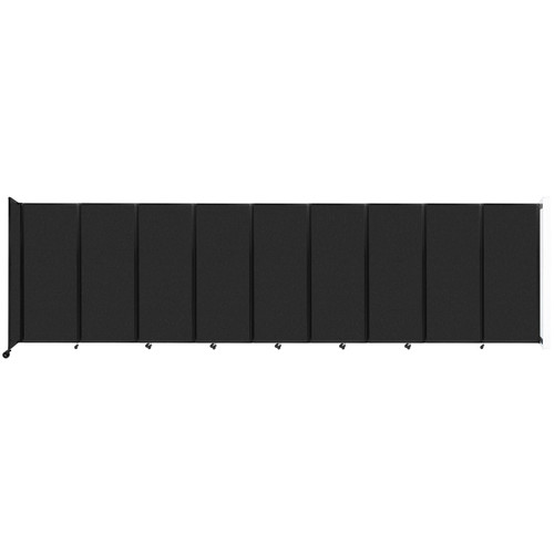 """Wall-Mounted Room Divider 360 Folding Partition 25' x 6'10"""" Black High Density Polyester"""