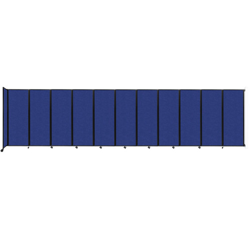 """Wall-Mounted Room Divider 360 Folding Partition 30'6"""" x 7'6"""" Blue High Density Polyester"""