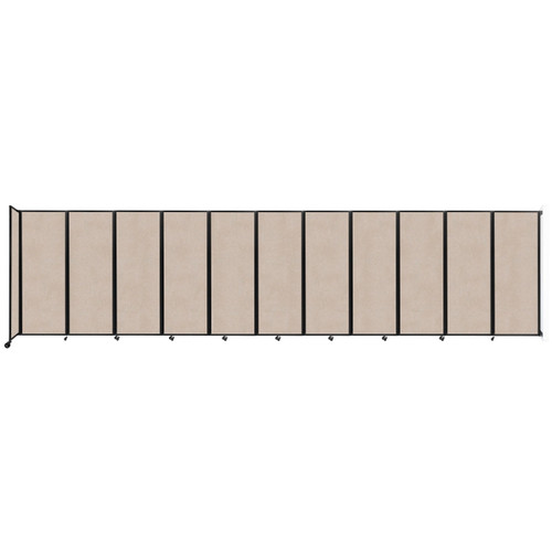 """Wall-Mounted Room Divider 360 Folding Partition 30'6"""" x 7'6"""" Beige High Density Polyester"""