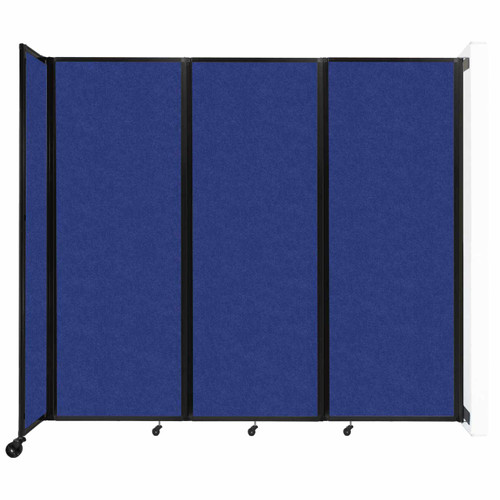 """Wall-Mounted Room Divider 360 Folding Partition 8'6"""" x 7'6"""" Blue High Density Polyester"""