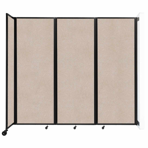 """Wall-Mounted Room Divider 360 Folding Partition 8'6"""" x 7'6"""" Beige High Density Polyester"""
