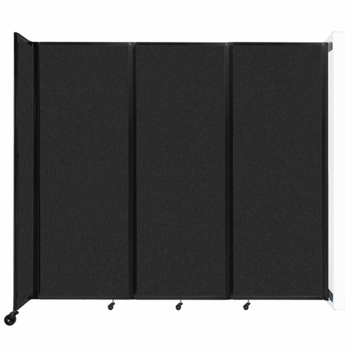 """Wall-Mounted Room Divider 360 Folding Partition 8'6"""" x 7'6"""" Black High Density Polyester"""