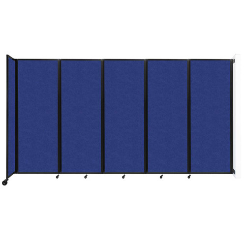 """Wall-Mounted Room Divider 360 Folding Partition 14' x 7'6"""" Blue High Density Polyester"""