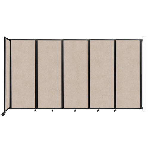 """Wall-Mounted Room Divider 360 Folding Partition 14' x 7'6"""" Beige High Density Polyester"""