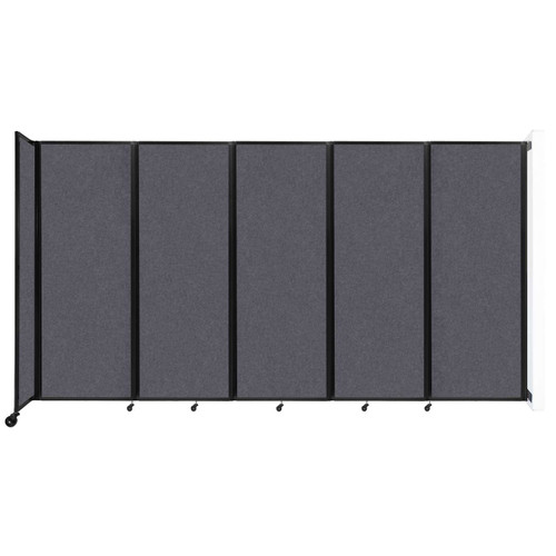 """Wall-Mounted Room Divider 360 Folding Partition 14' x 7'6"""" Dark Gray High Density Polyester"""
