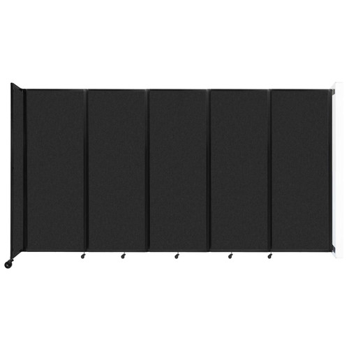 """Wall-Mounted Room Divider 360 Folding Partition 14' x 7'6"""" Black High Density Polyester"""