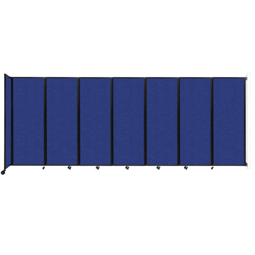 """Wall-Mounted Room Divider 360 Folding Partition 19'6"""" x 7'6"""" Blue High Density Polyester"""