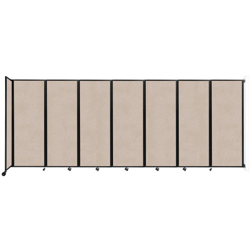 """Wall-Mounted Room Divider 360 Folding Partition 19'6"""" x 7'6"""" Beige High Density Polyester"""