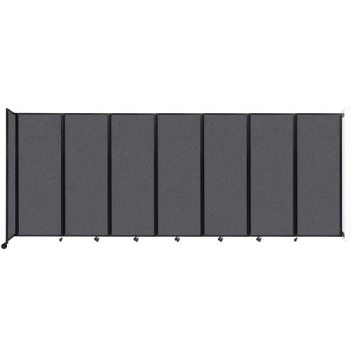 """Wall-Mounted Room Divider 360 Folding Partition 19'6"""" x 7'6"""" Dark Gray High Density Polyester"""