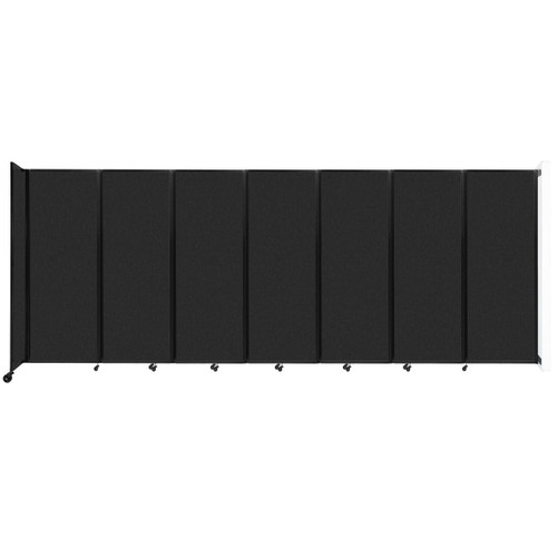 """Wall-Mounted Room Divider 360 Folding Partition 19'6"""" x 7'6"""" Black High Density Polyester"""