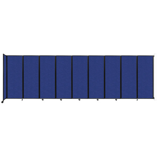 """Wall-Mounted Room Divider 360 Folding Partition 25' x 7'6"""" Blue High Density Polyester"""
