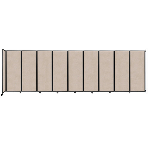 """Wall-Mounted Room Divider 360 Folding Partition 25' x 7'6"""" Beige High Density Polyester"""