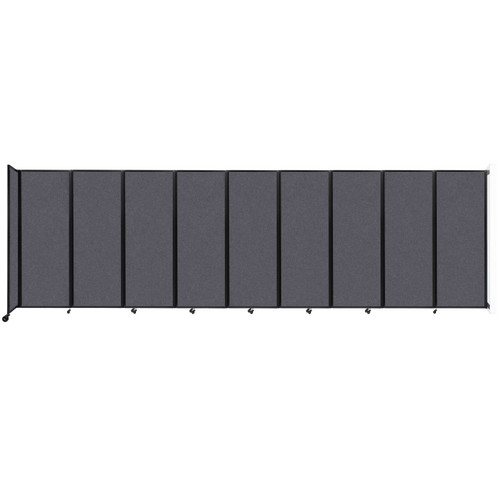 """Wall-Mounted Room Divider 360 Folding Partition 25' x 7'6"""" Dark Gray High Density Polyester"""