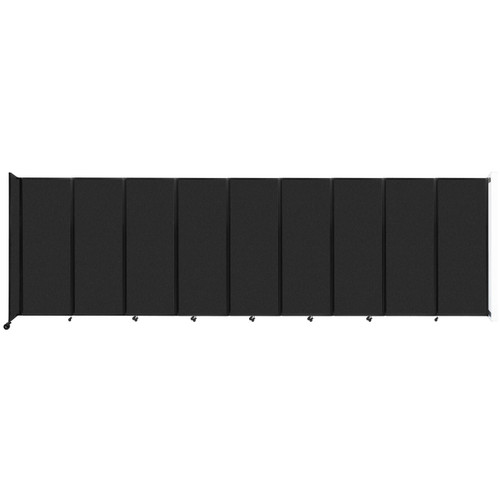 """Wall-Mounted Room Divider 360 Folding Partition 25' x 7'6"""" Black High Density Polyester"""