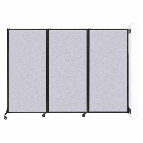 "Wall-Mounted QuickWall Folding Partition 8'4"" x 5'10"" Marble Gray High Density Polyester"