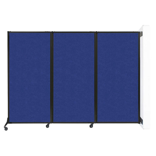 """Wall-Mounted QuickWall Folding Partition 8'4"""" x 5'10"""" Blue High Density Polyester"""