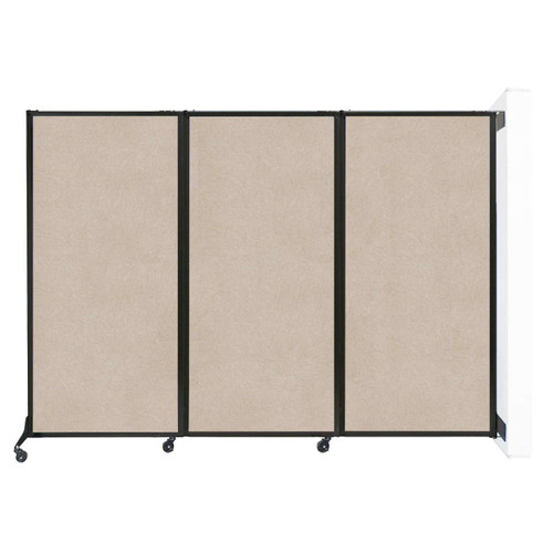 "Wall-Mounted QuickWall Folding Partition 8'4"" x 5'10"" Beige High Density Polyester"