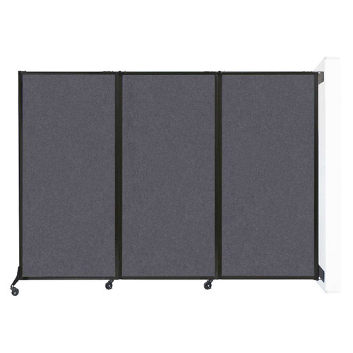 "Wall-Mounted QuickWall Folding Partition 8'4"" x 5'10"" Dark Gray High Density Polyester"