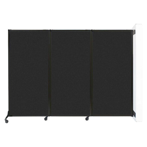 "Wall-Mounted QuickWall Folding Partition 8'4"" x 5'10"" Black High Density Polyester"