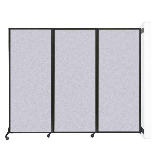 "Wall-Mounted QuickWall Folding Partition 8'4"" x 6'8"" Marble Gray High Density Polyester"