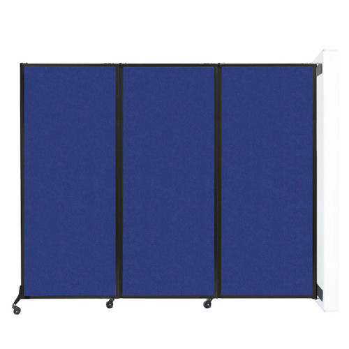 "Wall-Mounted QuickWall Folding Partition 8'4"" x 6'8"" Blue High Density Polyester"
