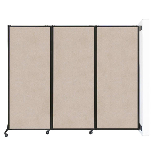 "Wall-Mounted QuickWall Folding Partition 8'4"" x 6'8"" Beige High Density Polyester"