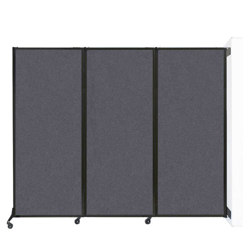 "Wall-Mounted QuickWall Folding Partition 8'4"" x 6'8"" Dark Gray High Density Polyester"