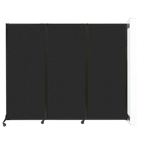"Wall-Mounted QuickWall Folding Partition 8'4"" x 6'8"" Black High Density Polyester"
