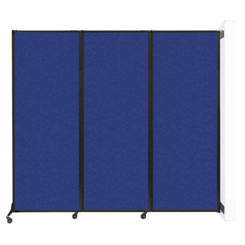 """Wall-Mounted QuickWall Folding Partition 8'4"""" x 7'4"""" Blue High Density Polyester"""