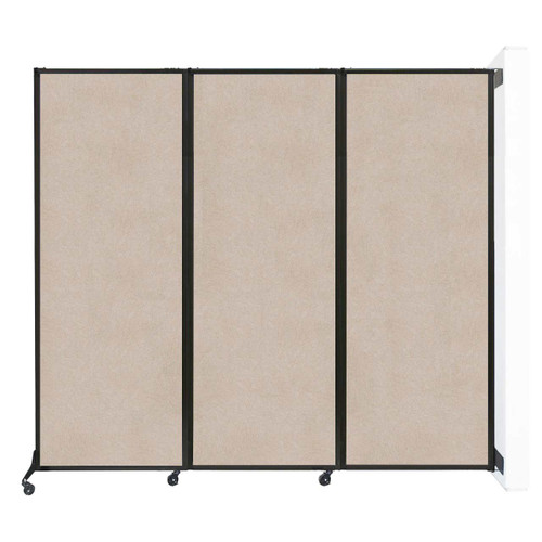 """Wall-Mounted QuickWall Folding Partition 8'4"""" x 7'4"""" Beige High Density Polyester"""