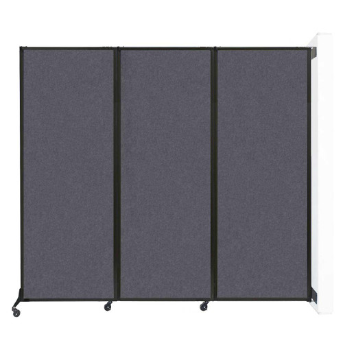 "Wall-Mounted QuickWall Folding Partition 8'4"" x 7'4"" Dark Gray High Density Polyester"