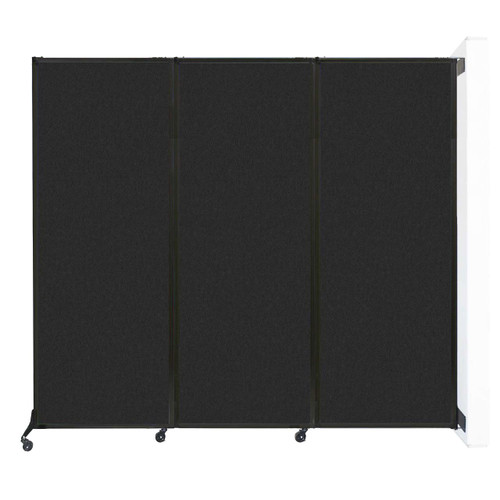 """Wall-Mounted QuickWall Folding Partition 8'4"""" x 7'4"""" Black High Density Polyester"""