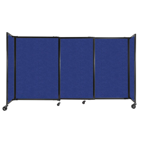 """StraightWall Sliding Portable Partition 7'2"""" x 4' Blue High Density Polyester"""