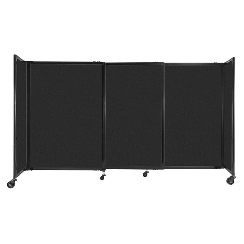 """StraightWall Sliding Portable Partition 7'2"""" x 4' Black High Density Polyester"""