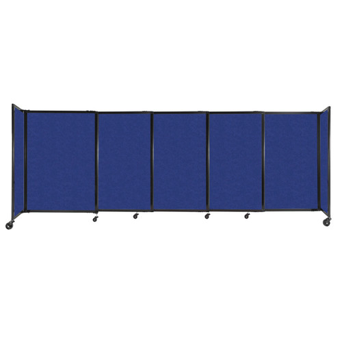 """StraightWall Sliding Portable Partition 11'3"""" x 4' Blue High Density Polyester"""