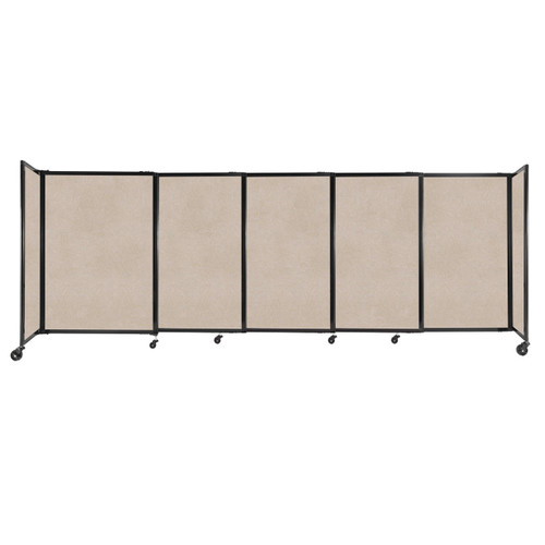"""StraightWall Sliding Portable Partition 11'3"""" x 4' Beige High Density Polyester"""
