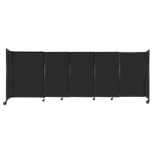 """StraightWall Sliding Portable Partition 11'3"""" x 4' Black High Density Polyester"""