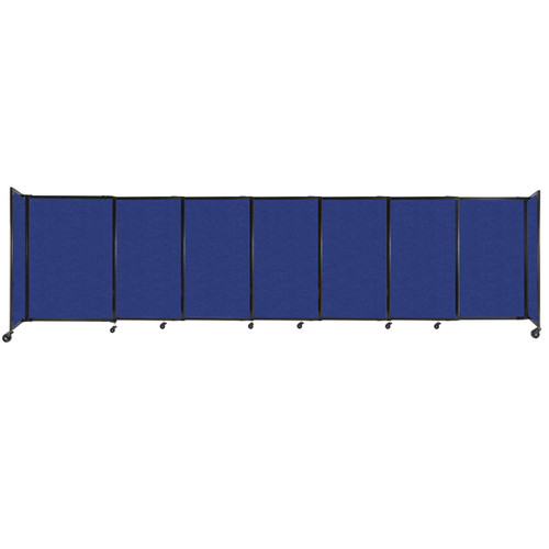 """StraightWall Sliding Portable Partition 15'6"""" x 4' Blue High Density Polyester"""