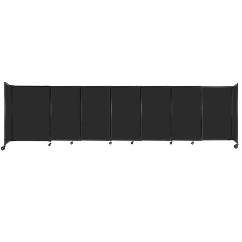 """StraightWall Sliding Portable Partition 15'6"""" x 4' Black High Density Polyester"""