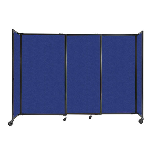 """StraightWall Sliding Portable Partition 7'2"""" x 5' Blue High Density Polyester"""
