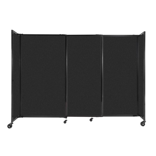 """StraightWall Sliding Portable Partition 7'2"""" x 5' Black High Density Polyester"""