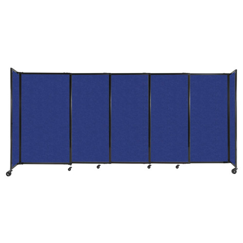 """StraightWall Sliding Portable Partition 11'3"""" x 5' Blue High Density Polyester"""