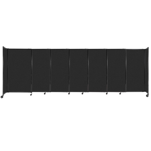 """StraightWall Sliding Portable Partition 15'6"""" x 5' Black High Density Polyester"""