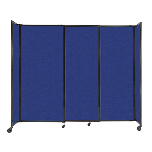 """StraightWall Sliding Portable Partition 7'2"""" x 6' Blue High Density Polyester"""