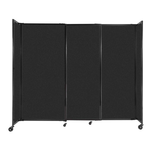 """StraightWall Sliding Portable Partition 7'2"""" x 6' Black High Density Polyester"""