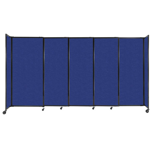 """StraightWall Sliding Portable Partition 11'3"""" x 6' Blue High Density Polyester"""