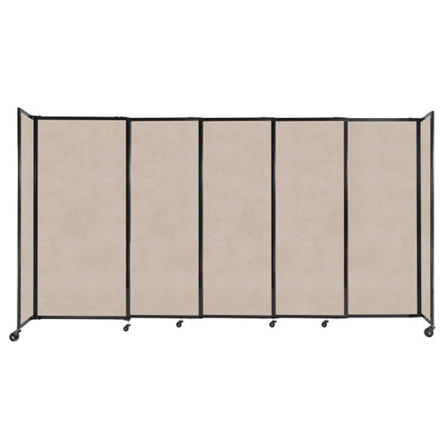 """StraightWall Sliding Portable Partition 11'3"""" x 6' Beige High Density Polyester"""